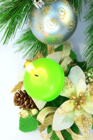 Christmas ornaments.Gray ball,fir-tree,candle. photo