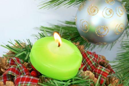 Christmas ornaments.Gray ball,fir-tree,candle. photo