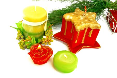 Christmas ornaments.Candles,fir-tree. Stock Photo - 2096807