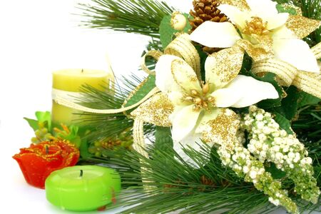 hollyberry: Christmas ornaments.Fir-tree,candles,holly-berry.