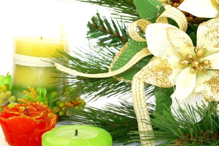 hollyberry: Christmas ornaments.Fir-tree,holly-berry,candles. Stock Photo
