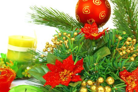 hollyberry: Christmas ornaments.Red ball,holly-berry,candles. Stock Photo