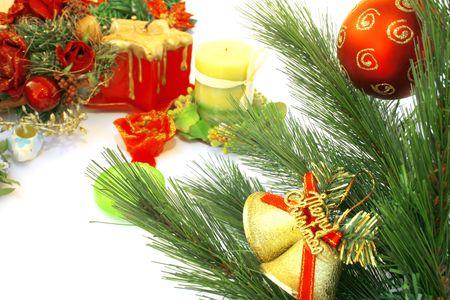 Christmas bells,fir-tree,candles,flowers,red ball. photo