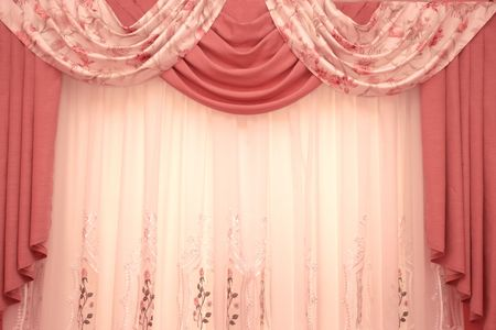 window curtains: Picture of luxurious curtains at home.