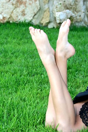 female feet: The feet of pretty girl.
