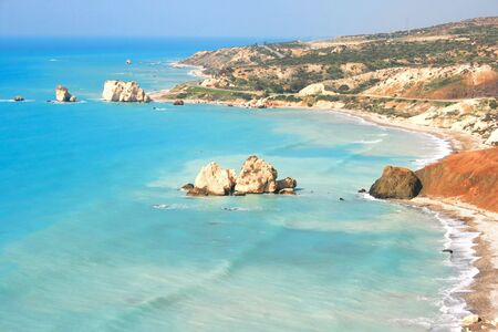 Petra tou Romiou, Aphrodites legendary birthplace in Paphos, Cyprus. photo