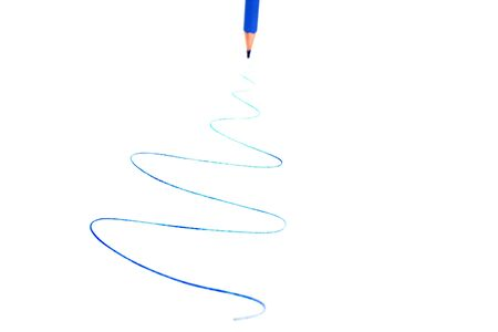 Blue pencil writing line on white list. Stock Photo - 5128070