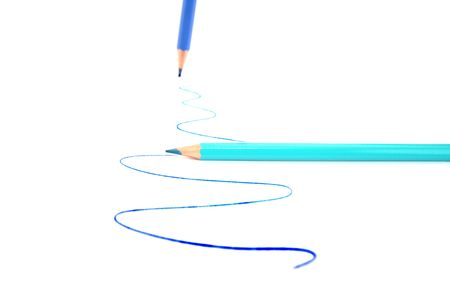 Writing blue and cyan pencils on white background. Stock Photo - 5128072