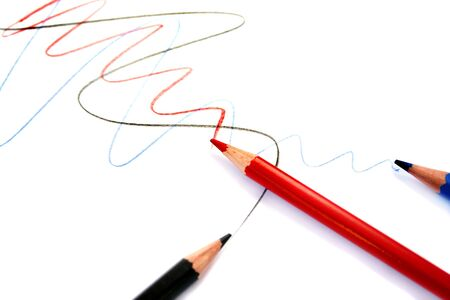 Writing three pencils on white background. Stock Photo - 5128076