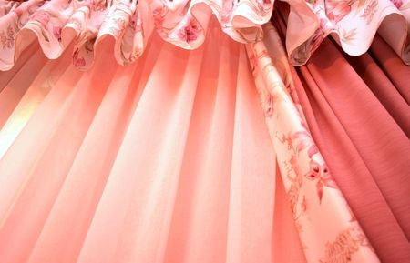 Picture of luxurious pink curtains. photo
