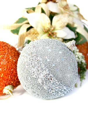 hollyberry: Christmas grey and orange balls with holly-berry flowers.  Stock Photo