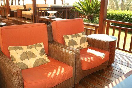 Outdoor cafe  interior,armchairs,sofas. photo