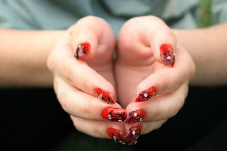 nailart: Open hands with nail art fingers. Stock Photo