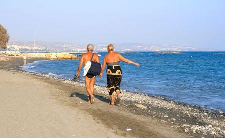 a bathing place: Seniors on the beach.