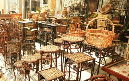 store interior: Decorative bamboo furniture outdoor shop in Cyprus.