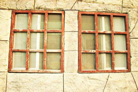 limassol: Vintage windows in Limassol old town. Stock Photo