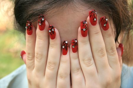 Woman hands with nail-art. photo