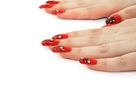 nailart: Woman hands isolated on white background. Stock Photo