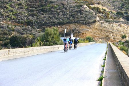 promptness: Mountain bikers on the road. Stock Photo