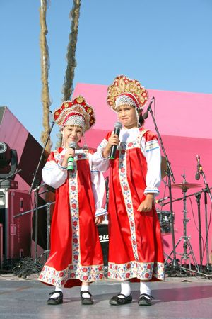 russian tradition: LIMASSOL,CYPRUS-JUNE 7:Unidentified little singers in russian national costumes  in Cypriot-Russian festival June 7, 2008 in Limassol,Cyprus.