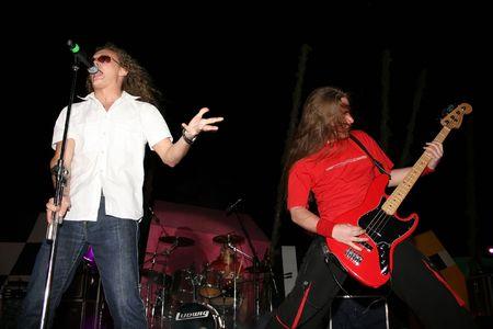 vocalist: LIMASSOL,CYPRUS-JUNE 7:Bassist Alexey Kolyukhov and vocalist Yevgeniy Yegorov of Russian heavy metal band Kolizey plays in Cypriot-Russian festival June 7, 2008 in Limassol,Cyprus.