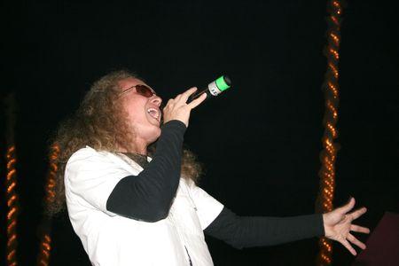 headbang: LIMASSOL,CYPRUS-JUNE 7:Vocalist Yevgeniy Yegorov of Russian heavy metal band Kolizey plays in Cypriot-Russian festival June 8, 2008 in Limassol,Cyprus.