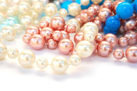 Colorful necklaces on white background. Stock Photo - 6480685