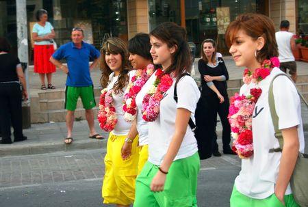 limassol: LIMASSOL,CYPRUS-MAY 10:Unidentified girls in Cyprus flowers festival, MAY 10, 2009 in Limassol,Cyprus.