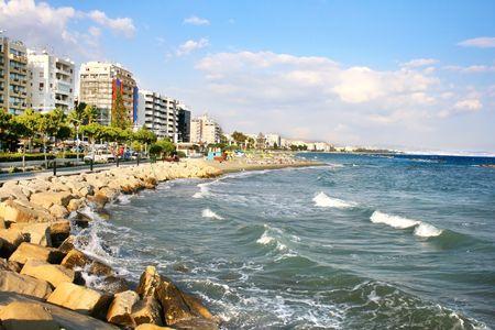 limassol: Public beach in Limassol, Cyprus.