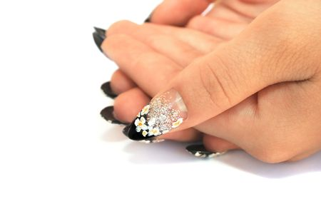 Hand with nail art isolated on white background.