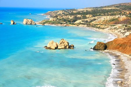 Petra tou Romiou, Aphrodite's legendary birthplace in Paphos, Cyprus. Archivio Fotografico
