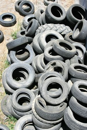 Old tires, environmental pollution. photo