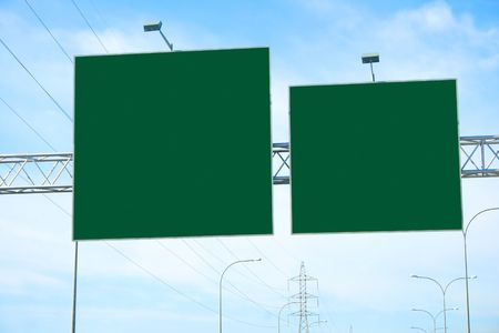 Empty billboard on highway towers. photo
