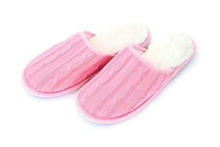 Woman house slippers isolated on white background. photo