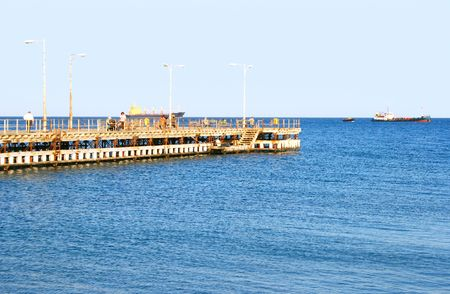 Pier in Mediterranean sea, Limassol, Cyprus. photo