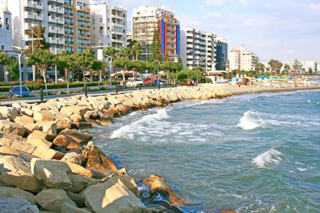 Public beach in Limassol, Cyprus. photo