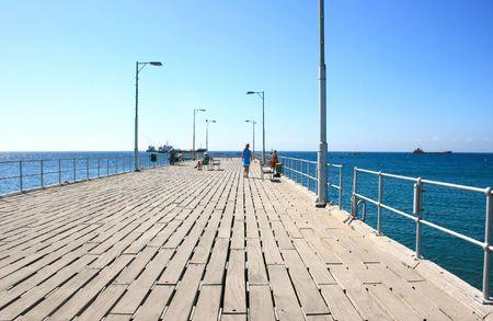 Pier in Mediterranean sea, Limassol, Cyprus. photo