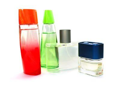 Perfume bottles isolated on white background. photo