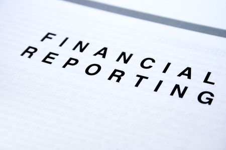 governance: Financial reporting  document, white paper. Stock Photo
