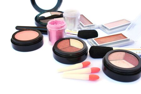 Makeup collection isolated on white background. 版權商用圖片