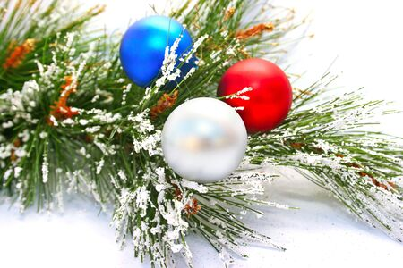 Christmas  balls and fir tree isolated  on white background. photo