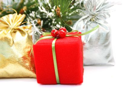 Christmas  present boxes on white background. photo