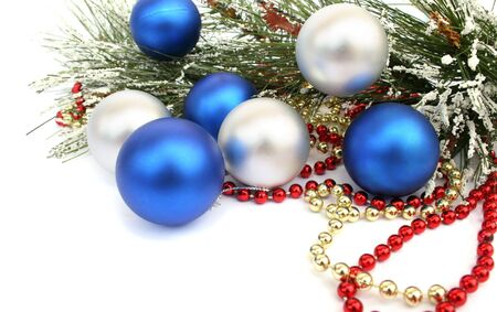 Christmas  balls and fir tree  on white background. photo