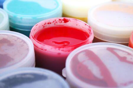 Paint buckets isolated on white background. photo