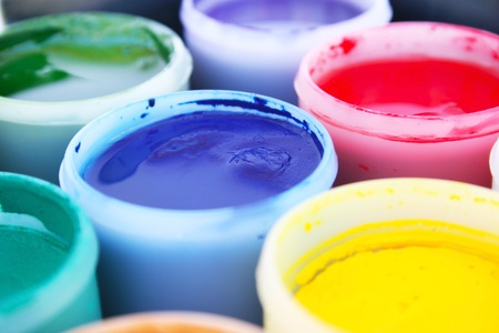pigment: Colorful paint buckets picture.