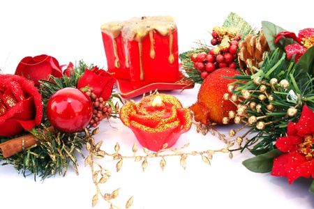 Christmas decorations and  candles  isolated  on white background. photo