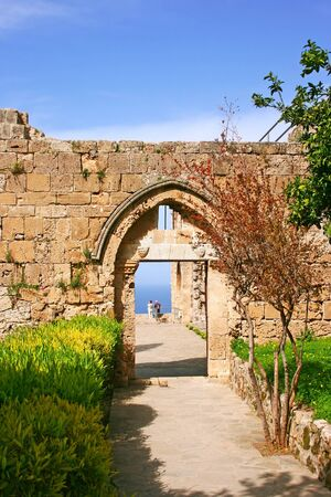 Historic Bellapais Abbey in Kyrenia, Northern Cyprus.Original construction was built between 1198-1205, it is the most beautiful Gothic building in the Near East. photo