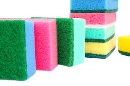 Colorful sponges isolated on white background. photo