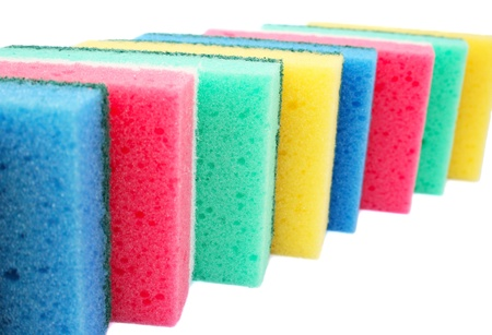 Colorful sponges isolated on white background. photo