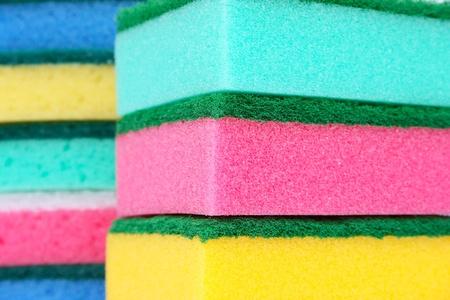 Colorful sponges closeup picture. photo